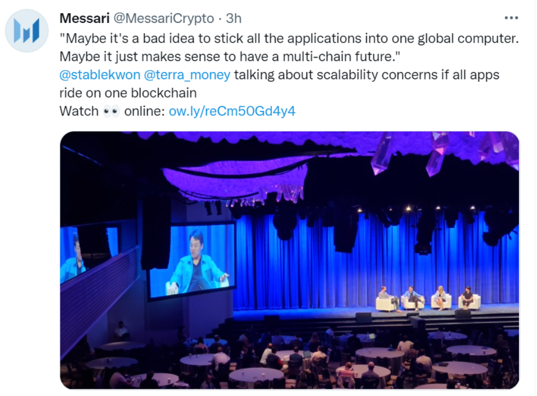maybe it's a bad idea to stick all the applications into one global computer. Maybe it just makes sense to have a multi-chain future. @stabelkwon @terra_money at Messari Conference